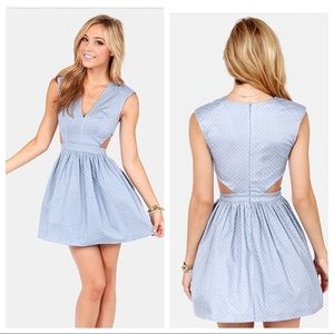 LULUS BRAT PACK BLUE CUTOUT POLKA DOT DRESS